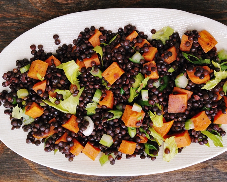 Roasted Sweet Potato Black Lentil Salad Illinois Bariatric Center
